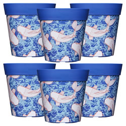 Small Image of 6 x 22cm Blue Ink Fish Plastic Garden Planter 5L Flowerpot by Hum