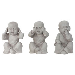 Small Image of Grey Fibreclay See, Hear & Speak No Evil 30cm Shaolin Monk Garden Statue Ornament Set