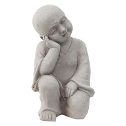 Small Image of 25cm Stone Look Fibreclay Relaxing Shaolin Monk Buddha Garden Statue Ornament