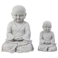 Small Image of Set of 2 Stone Look Fibreclay Meditating Shaolin Monk Buddha Garden Statue Ornaments