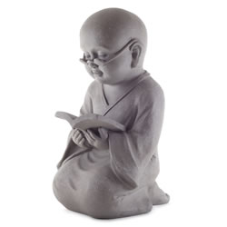 Small Image of Large 44cm Stone Look Fibreclay Monk Buddha Garden Ornament