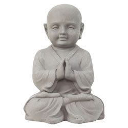 Small Image of 42cm Stone Look Fibreclay Praying Shaolin Monk Buddha Garden Statue Ornament