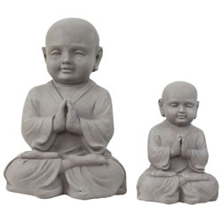 Small Image of Set of 2 Stone Look Fibreclay Praying Shaolin Monk Buddha Garden Statue Ornaments