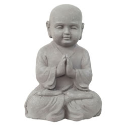 Small Image of 25cm Stone Look Fibreclay Praying Shaolin Monk Buddha Garden Statue Ornament
