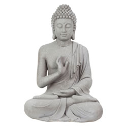 Small Image of Large 73cm Grey Stone Look Fibreclay Sitting Buddha Statue Garden Sculpture Ornament