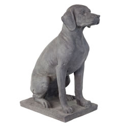 Small Image of Large Dark Grey Stone Look Fibreclay 67cm Sitting Pointer Dog Garden Statue Ornament