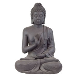 Small Image of Large 73cm Dark Grey Stone Look Fibreclay Sitting Buddha Statue Garden Sculpture Ornament