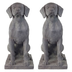 Small Image of Set of 2 Large Dark Grey Stone Look Fibreclay 67cm Sitting Pointer Dog Garden Statue Ornaments