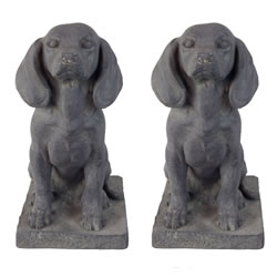 Small Image of 2 x Dark Grey Stone Look 46cm Sitting Pointer Dog Garden Ornaments