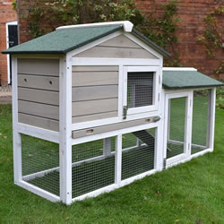 Bunny House Grey Rabbit Hutch and Run
