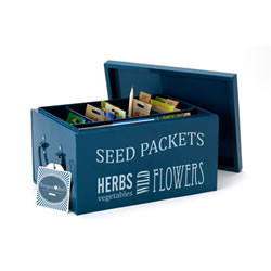 Small Image of Burgon & Ball Seed Packets Organiser Tin Box includes Seed Envelopes, Blue