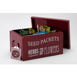 Small Image of Burgon & Ball Seed Packets Organiser Tin Box in Burgundy