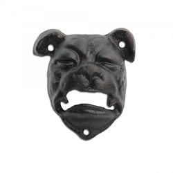 Small Image of Wall Mounted British Bull Dog Head Cast Iron Bottle Opener in Black Finish