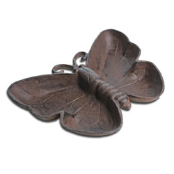 Small Image of Antique Finish Cast Iron Butterfly Bird Bath / Feeder Garden Accessory