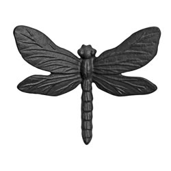 Small Image of Wall Mountable Cast Iron Dragonfly Garden Ornament in Black Finish