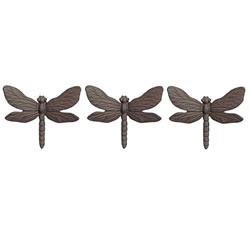 Small Image of Set of Three Wall Mountable Cast Iron Dragonfly Garden Ornaments with Vintage Finish