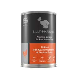 Small Image of Billy & Margot Adult Chicken with Garden Vegetables and Orchard Fruits 12 X 395g tins