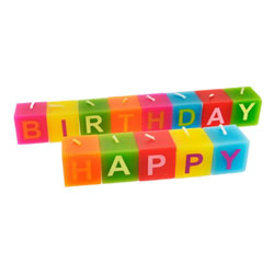 Small Image of Bright & Colourful 'Happy Birthday' Celebration Candle Set