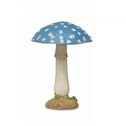 Small Image of Colourful Resin Mushroom Toadstool Garden Ornament - Blue Round Head