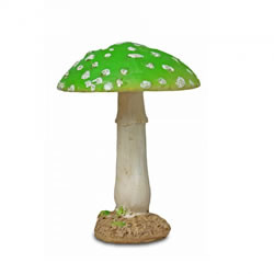 Small Image of Colourful Resin Mushroom Toadstool Garden Ornament - Green Round Head