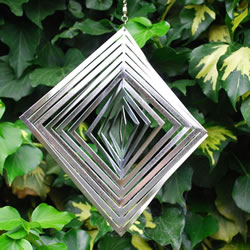 Small Image of Diamond Shaped Steel Windspinner For The Garden