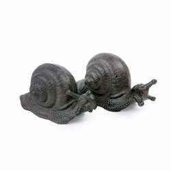Small Image of Set of Two Cast Iron Snail Ornaments for the Garden