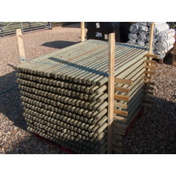Small Image of (Pack of 10) 1.65m x 50mm Diameter treated round wooden fence posts