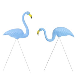Small Image of Pair of Authentic Blue Plastic Lawn Flamingo Garden Ornaments by Don Featherstone