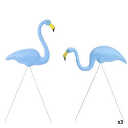 Small Image of 3 Pairs of Authentic Blue Plastic Lawn Flamingo Garden Ornaments