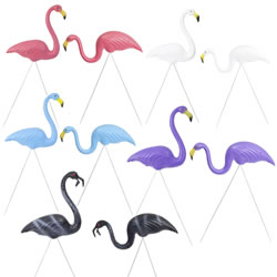 Small Image of 10 Pairs of Authentic Coloured Plastic Lawn Flamingo Garden Ornaments by Don Featherstone