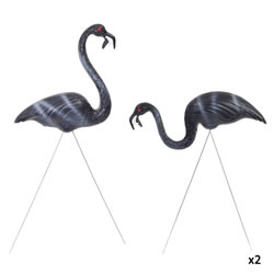 Small Image of 2 Pairs of Authentic Black Zombie Plastic Lawn Flamingo Garden Ornaments by Don Featherstone