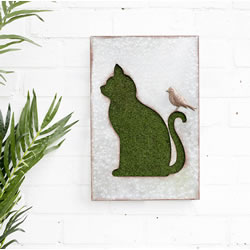 Small Image of Flocked Cat Wall Art