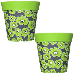Small Image of 2 x 22cm Green Floral Plastic Garden Planter 5L Flowerpot by Hum