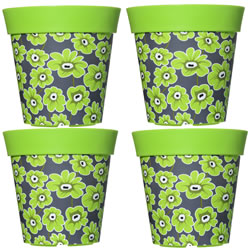 Small Image of 4 x 22cm Green Floral Plastic Garden Planter 5L Flowerpot by Hum