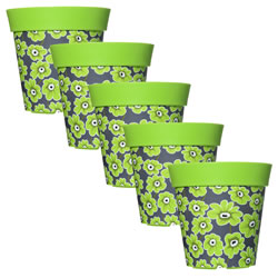 Small Image of 5 x 22cm Green Floral Plastic Garden Planter 5L Flowerpot by Hum