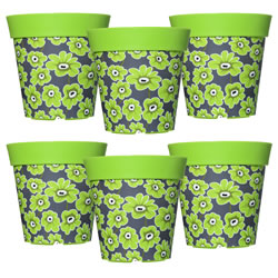 Small Image of 6 x 22cm Green Floral Plastic Garden Planter 5L Flowerpot by Hum