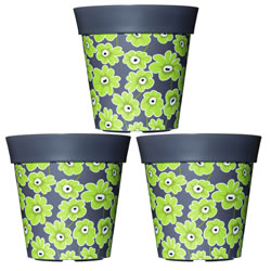 Small Image of 3 x 22cm Grey & Green Floral Plastic Garden Planter 5L Flowerpot by Hum