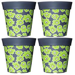 Small Image of 4 x 22cm Grey & Green Floral Plastic Garden Planter 5L Flowerpot