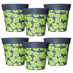 Small Image of 6 x 22cm Grey & Green Floral Plastic Garden Planter 5L Flowerpot by Hum