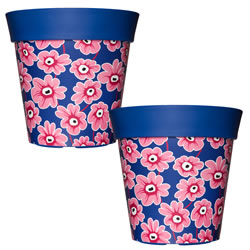 Small Image of 2 x 22cm Blue & Pink Floral Plastic Garden Planter 5L Flowerpot by Hum