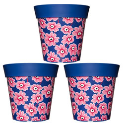 Small Image of 3 x 22cm Blue & Pink Floral Plastic Garden Planter 5L Flowerpot by Hum