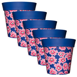 Small Image of 5 x 22cm Blue & Pink Floral Plastic Garden Planter 5L Flowerpot by Hum