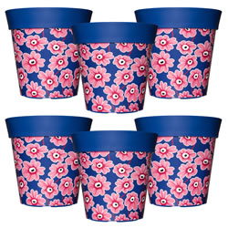 Small Image of 6 x 22cm Blue & Pink Floral Plastic Garden Planter 5L Flowerpot by Hum