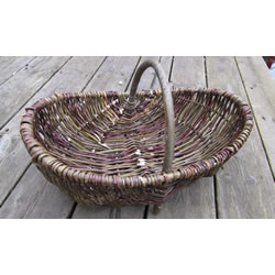 Small Image of Beautiful Hand-Made Rustic Willow Garden Trug Basket wicker, Medium