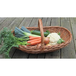 Small Image of Beautiful Hand-Made Wicker Fruit, Flower & Vegetable Trug Basket, Large