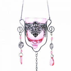 Small Image of Single Hanging Pink Glass Tealight Holder For Outside Or In