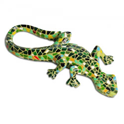 Small Image of Green Mosaic Lizard Resin Garden Ornament