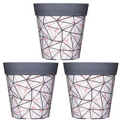 Small Image of 3 x Single 22cm Grey Geometric Plastic Garden Planter 5L Flowerpot by Hum