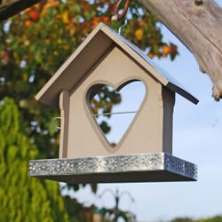 Small Image of Garden Bird Feeder With Heart Shaped Apple Holder In A Grey Finish