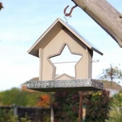 Small Image of Grey Painted Garden Bird Feeder With Star Shaped Apple Holder